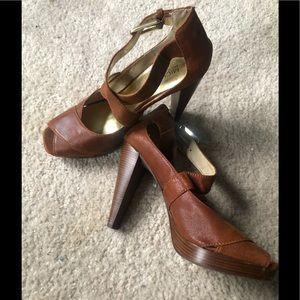 Mickael Kors Leather Upper Crisscross Strap Heels